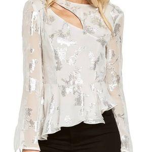 NWT Bardot Metallic Cutout Silk Blend Blouse
